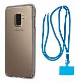 Dafoni Hummer Samsung Galaxy A8 Plus 2018 Mavi Askılı Ultra Koruma Kılıf