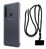 Dafoni Hummer Samsung Galaxy A9 2018 Siyah Askılı Ultra Koruma Kılıf