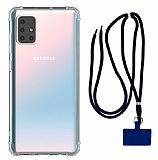 Dafoni Hummer Samsung Galaxy M51 Lacivert Askılı Ultra Koruma Kılıf