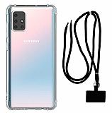 Dafoni Hummer Samsung Galaxy M51 Siyah Askılı Ultra Koruma Kılıf
