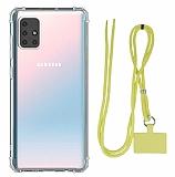 Dafoni Hummer Samsung Galaxy M51 Sarı Askılı Ultra Koruma Kılıf