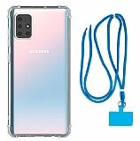 Dafoni Hummer Samsung Galaxy M51 Mavi Askılı Ultra Koruma Kılıf