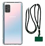 Dafoni Hummer Samsung Galaxy M51 Yeşil Askılı Ultra Koruma Kılıf