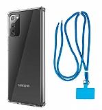 Dafoni Hummer Samsung Galaxy Note 20 Mavi Askılı Ultra Koruma Kılıf