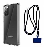 Dafoni Hummer Samsung Galaxy Note 20 Lacivert Askılı Ultra Koruma Kılıf
