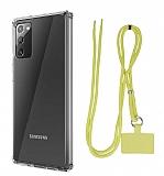 Dafoni Hummer Samsung Galaxy Note 20 Sarı Askılı Ultra Koruma Kılıf