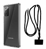 Dafoni Hummer Samsung Galaxy Note 20 Siyah Askılı Ultra Koruma Kılıf