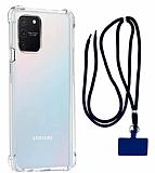 Dafoni Hummer Samsung Galaxy S10 Lite Lacivert Askılı Ultra Koruma Kılıf