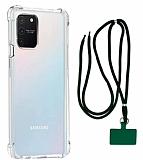 Dafoni Hummer Samsung Galaxy S10 Lite Yeşil Askılı Ultra Koruma Kılıf
