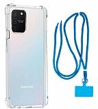 Dafoni Hummer Samsung Galaxy S10 Lite Mavi Askılı Ultra Koruma Kılıf