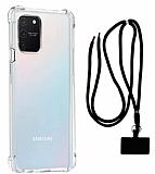 Dafoni Hummer Samsung Galaxy S10 Lite Siyah Askılı Ultra Koruma Kılıf