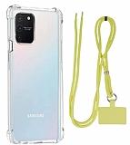 Dafoni Hummer Samsung Galaxy S10 Lite Sarı Askılı Ultra Koruma Kılıf