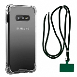 Dafoni Hummer Samsung Galaxy S10e Yeşil Askılı Ultra Koruma Kılıf