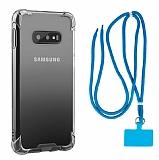 Dafoni Hummer Samsung Galaxy S10e Mavi Askılı Ultra Koruma Kılıf