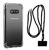 Dafoni Hummer Samsung Galaxy S10e Siyah Askılı Ultra Koruma Kılıf