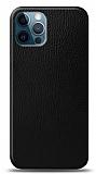 Dafoni iPhone 12 Pro Max Siyah Deri Görünümlü Telefon Kaplama