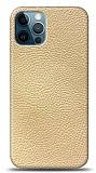 Dafoni iPhone 12 Pro Max Krem Deri Görünümlü Telefon Kaplama