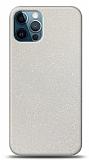 Dafoni iPhone 12 Pro Max Beyaz Parlak Simli Telefon Kaplama