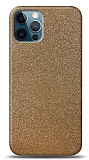 Dafoni iPhone 12 Pro Max Gold Parlak Simli Telefon Kaplama