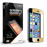 Dafoni iPhone 5 / 5S Metal Kenarl� Tempered Glass Premium Gold Cam Ekran Koruyucu