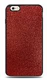 Dafoni iPhone 6 / 6S Silikon Kenarlı Simli Kırmızı Kılıf