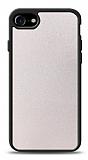 Dafoni iPhone 7 / 8 Silikon Kenarlı Simli Beyaz Kılıf