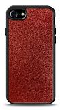 Dafoni iPhone 7 / 8 Silikon Kenarlı Simli Kırmızı Kılıf