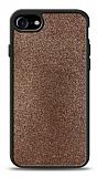 Dafoni iPhone 7 / 8 Silikon Kenarlı Simli Kahverengi Kılıf