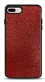 Dafoni iPhone 7 Plus / 8 Plus Silikon Kenarlı Simli Kırmızı Kılıf