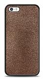 Dafoni iPhone SE / 5 / 5S Silikon Kenarlı Simli Kahverengi Kılıf