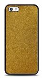 Dafoni iPhone SE / 5 / 5S Silikon Kenarlı Simli Gold Kılıf