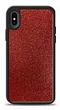 Dafoni iPhone X / XS Silikon Kenarlı Simli Kırmızı Kılıf