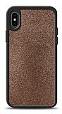 Dafoni iPhone X / XS Silikon Kenarlı Simli Kahverengi Kılıf
