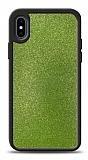 Dafoni iPhone X / XS Silikon Kenarlı Simli Yeşil Kılıf