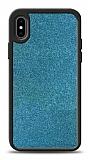 Dafoni iPhone X / XS Silikon Kenarlı Simli Mavi Kılıf
