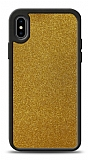 Dafoni iPhone X / XS Silikon Kenarlı Simli Gold Kılıf