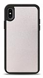Dafoni iPhone X / XS Silikon Kenarlı Simli Beyaz Kılıf
