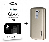 Dafoni LG G2 Gold K�l�f ve Eiroo Cam Ekran Koruyucu Seti