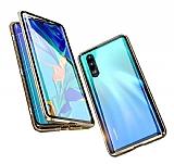 Dafoni Magnet Glass Huawei P20 360 Derece Koruma Cam Gold Kılıf