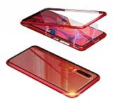 Dafoni Magnet Glass Huawei P20 360 Derece Koruma Cam Kırmızı Kılıf