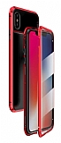 Dafoni Magnet Glass iPhone X / XS 360 Derece Koruma Cam Kırmızı Kılıf