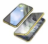 Dafoni Magnet Glass iPhone XR 360 Derece Koruma Cam Gold Kılıf