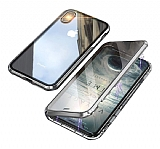 Dafoni Magnet Glass iPhone XR 360 Derece Koruma Cam Silver Kılıf
