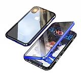 Dafoni Magnet Glass iPhone XR 360 Derece Koruma Cam Mavi Kılıf