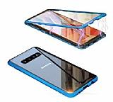 Dafoni Magnet Glass Samsung Galaxy S10 Plus 360 Derece Koruma Cam Lacivert Kılıf