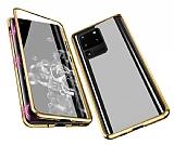 Dafoni Magnet Glass Samsung Galaxy S20 Ultra 360 Derece Koruma Cam Gold Kılıf