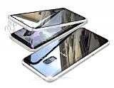 Dafoni Magnet Glass Samsung Galaxy S9 Plus 360 Derece Koruma Cam Silver Kılıf