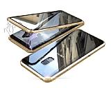Dafoni Magnet Glass Samsung Galaxy S9 Plus 360 Derece Koruma Cam Gold Kılıf