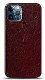 Dafoni iPhone 12 Pro Max Bordo Electro Deri Görünümlü Telefon Kaplama