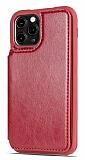 Dafoni Retro iPhone 11 Pro Cüzdanlı Kırmızı Rubber Kılıf